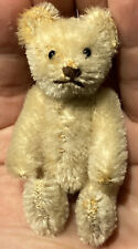 """Early Antique Miniature Steiff Jointed 3"""" White Teddy Bear Unusual Example NM"""