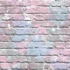 3D Brick Effect Wallpaper Lilac Pink Blue Paint Splash Slate Stone Rustic
