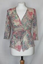 Jane Norman Beige Pink Blue Patterned 3/4 Sleeved Chiffon Summer Top size S