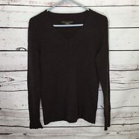 Banana Republic Womens Small Extra Fine Merino Wool V Neck Sweater Brown E102
