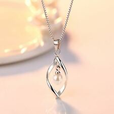 White Gold Plated Luxury Pearl Pendent Necklace Jewelry Wedding Long