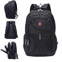Mens Large Black Backpack Nylon Laptop Notebook Waterproof Travel School Bag