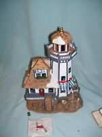 LEMAX PORCELAIN LIGHTED LIGHT HOUSE PLYMOUTH CORNERS VILLAGE   A-340
