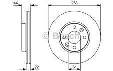 BOSCH Juego de 2 discos freno 258mm ventilado RENAULT KANGOO 0 986 479 556