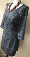Pepperberry Size 10 Curvy Really Curvy Grey & Green 3/4 Sleeved Shift Dress