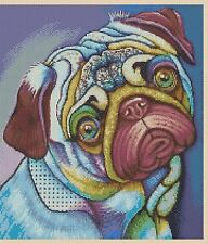Colorful Pug Dog Counted Cross Stitch Chart No.2-392/6