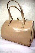 Vintage Gianni Versace Beige Cream Leather Small Framed Handbag Hand Bag Italy
