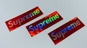"""3 x Holographic Supreme Stickers - Stick on anything water bottles, cases 3""""x1"""""""