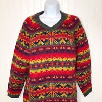 Vintage LT Sport Fair Isle Sweater 100% Wool Multicolored 1X Pullover V Neck