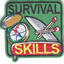 """""""SURVIVAL SKILLS"""" - CAMPING - MILITARY - OUTDOORS - Iron On Embroidered Patch"""