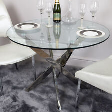 Aurelia Chrome & Clear Glass Round Large Dining Room Kitchen Table 130cm Dia