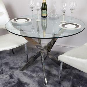 Aurelia Chrome & Clear Glass Round Medium Dining Room Kitchen Table 100cm Dia