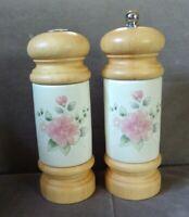 Pfaltzgraff Tea Rose Wood Accent Salt Shaker & Mr Dudley Pepper Mill VGC