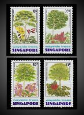 1976 SINGAPORE WAYSIDE TREES YELLOW FLAME CABBAGE ROSE OF INDIA VARIEGATED CORAL