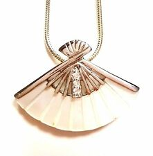 MOTHER-OF-PEARL FAN PENDANT w/ Sparkling CZ Stones .925 STERLING SILVER
