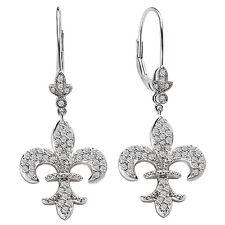 NEW 14K WHITE GOLD DIAMOND FLEUR DE LIS DANGLING EARRINGS .85cts.