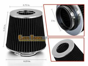 """3"""" Short Ram Cold Air Intake Filter Round/Cone Universal BLK For Mercedes Benz 1"""