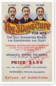 Venereal Disease 3 Day Opium Cure Victorian Quack Patent Medicine Poster