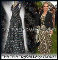 BNWT RARE KATE MOSS TOPSHOP BLUE BLACK MULTI STRIPE FLORAL 50s MAXI DRESS UK 8