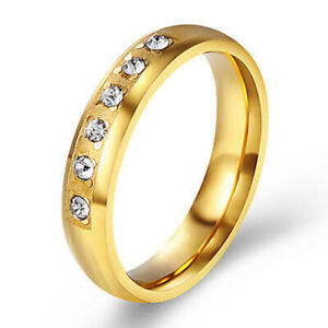 2021 Trendy Gold Crystal Ring Wedding Party Fashion Rings Jewelry for Womens 6