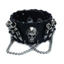 Proiettile a catena in pelle Uomo Gotico Nero Skull Wristband Bracciali F2E7