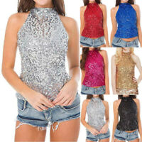 New Women's Casual Solid Sequins Sleeveless Vest Tank Tops Short Blouse T-shirt