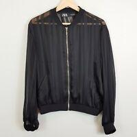 ZARA | Womens Black Semi-Sheer Bomber Jacket [ Size M or AU 12 / US 8 ]