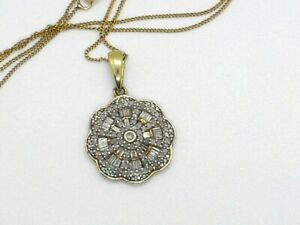 H15 ladies natural diamond pendant and 18 inch chain 18ct gold on silver
