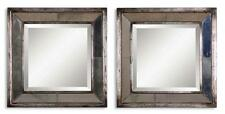 """Boutique 18"""" Glass Framed SQUARE Mirrored Wall Art PAIR Set of 2 Silver"""