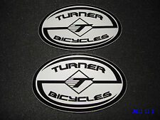 2 AUTHENTIC OVAL TURNER BICYCLES BLACK / WHITE STICKERS / DECALS / AUFKLEBER