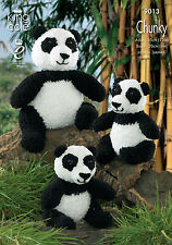 KING COLE PATTERN 9013.  PANDA TOYS.  ADULT & BABY PANDAS