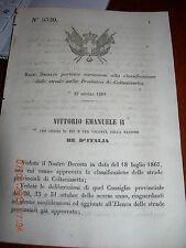 REGIO DECRETO 1869 variaz strade prov CALTANISSETTA comuni NISCEMI MAZZARINO