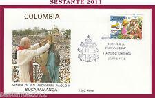 W170 VATICANO FDC ROMA VISITA PAPA GIOVANNI PAOLO II COLOMBIA BUCARAMANGA  1986