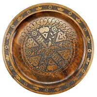 Vintage Krakow Poland Folk Art Carved Wood Plate Wall Plaque Charger Platter