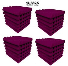 Acoustic Foam 48 pack Purple Wedge Studio Soundproofing Wall Tiles 12x12x 2