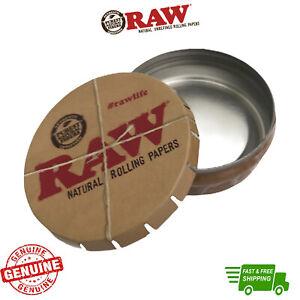 RAW Round Metal Click Clack Tin Storage Pop Up Stash Tin RAW Rolling Papers