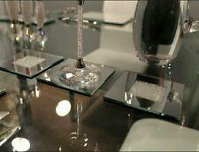Juego de 4 Reflectante Posavasos con Cristales Swarovski Mesa de Comedor Cena