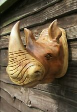 More details for hand carved made wooden wild rhino rhinoceros head wall art plaque sculpture nat