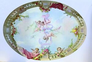 Dollhouse Miniature  Mural - Ceiling Sky Cupid and Roses