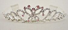 Pink Butterfly  Rhinestone Tiara with comb Birthday Sweet 15 Sweet 16 KD039