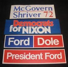 Political Bumper Stickers lot Nixon Ford Dole McGovern Shriver 1970's 4 stickers