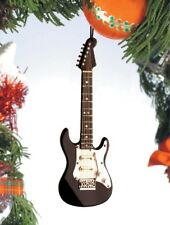 "Miniature 5"" Black Electric Guitar Hanging Tree Ornament"