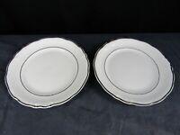 Wawel WAV23 Set of 2 Dinner Plates Fine China Gold Trim White Poland