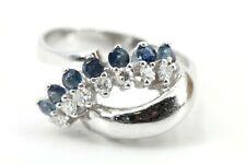 Gold Ring 585 Diamant Saphir 14K Weißgold Saphir 7 Achtkant ca 0,14ct Gr 54