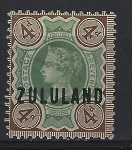 Zululand SG 6 4d Green & Deep Brown Lightly Mounted Mint Cat £60