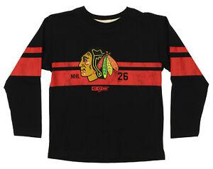 CCM NHL Kids Chicago Blackhawks Black Legendary Long Sleeve T-Shirt