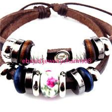 21868 Handmade Adjustable Brown Leather Pink Flower Bead Bracelet Fit Add Locket