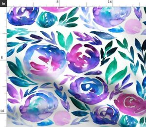 Pink Flower Bright Purple Bold Summer Vibrant Spoonflower Fabric by the Yard