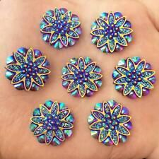 DIY 10pcs 18mm AB Resin flower Flatback Rhinestone Wedding crafts no hole/purple