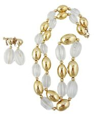 Vintage Signed Napier Clear Lucite & Goldtone Runway Couture Necklace & Earrings